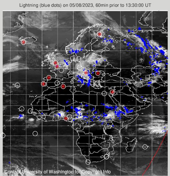 WEERHUISKE.nl - Waar was er 1 uur geleden onweer in Europa en Afrika?